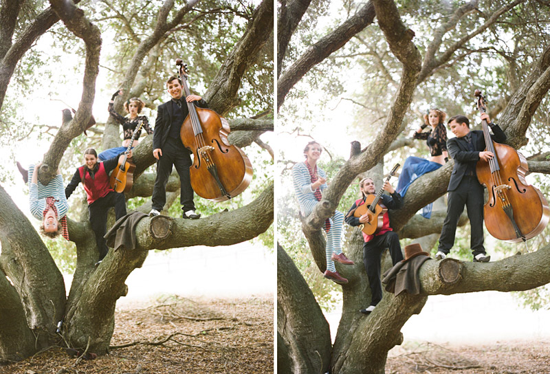 Loriana Ranch, San Luis Obispo Vintage Circus Freak Show Blue Bird inspiration shoot of Redskunk Band playing music in a tree (1 of 5)