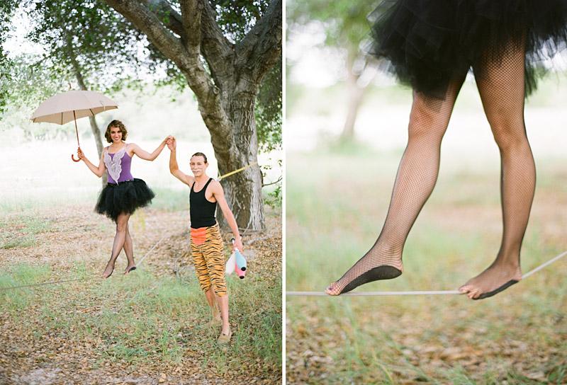 Loriana Ranch, San Luis Obispo Vintage Circus Freak Show Blue Bird inspiration shoot of tightrope walking juggling couple (1 of 4)