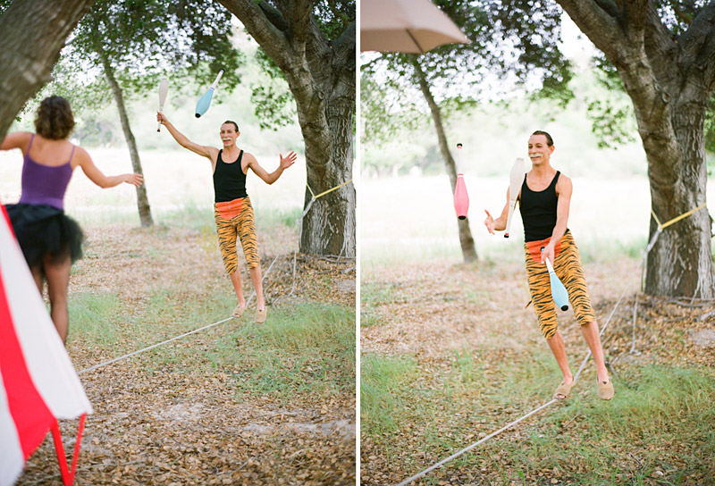 Loriana Ranch, San Luis Obispo Vintage Circus Freak Show Blue Bird inspiration shoot of tightrope walking juggling couple (3 of 4)