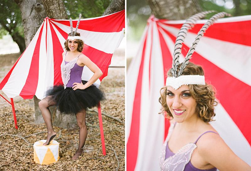 Loriana Ranch, San Luis Obispo Vintage Circus Freak Show Blue Bird inspiration shoot of acrobat girl