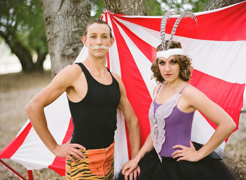 Loriana Ranch, San Luis Obispo Vintage Circus Freak Show Blue Bird inspiration shoot of acrobat couple (1 of 2)