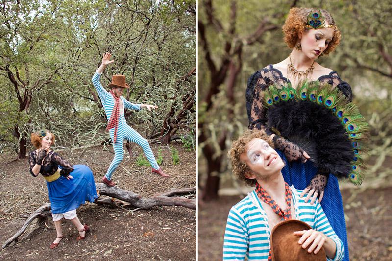 Loriana Ranch, San Luis Obispo Vintage Circus Freak Show Blue Bird inspiration shoot of clowns in a forest (5)