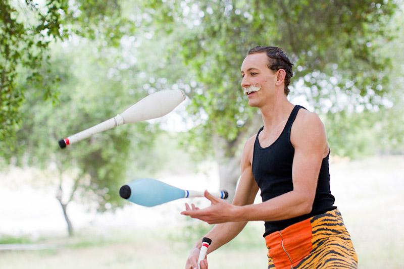 Loriana Ranch, San Luis Obispo Vintage Circus Freak Show Blue Bird inspiration shoot of tightrope walking juggling couple (4 of 4)