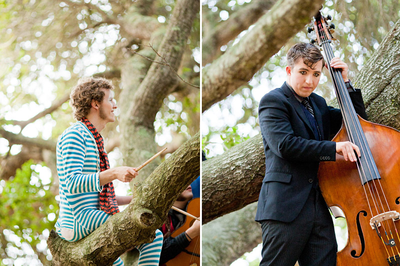 Loriana Ranch, San Luis Obispo Vintage Circus Freak Show Blue Bird inspiration shoot of Redskunk Band playing music in a tree (2 of 5)