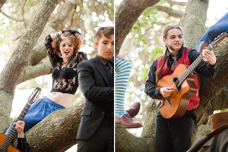 Loriana Ranch, San Luis Obispo Vintage Circus Freak Show Blue Bird inspiration shoot of Redskunk Band playing music in a tree (3 of 5)