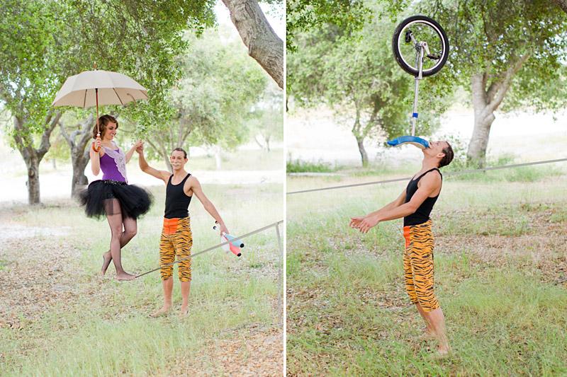 Loriana Ranch, San Luis Obispo Vintage Circus Freak Show Blue Bird inspiration shoot of tightrope walking juggling couple (5 of 5)