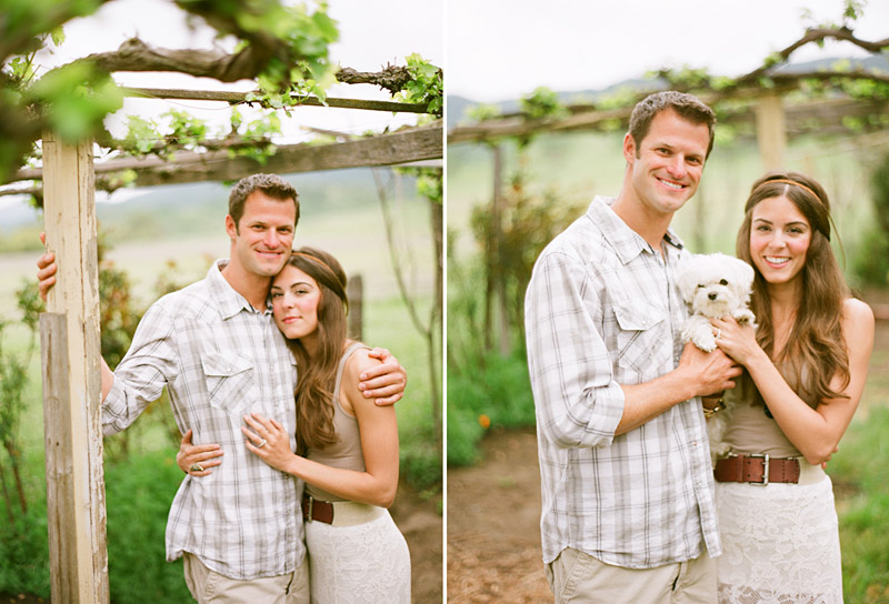 Santa Margarita Ranch, engagement photos of couple under vines with their dog