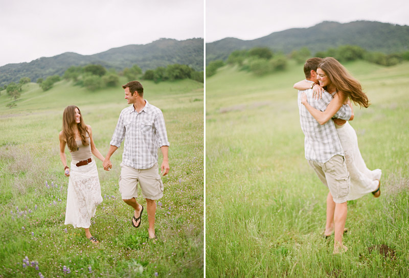Santa Margarita Ranch, engagement photos of couple sitting walking and twirling in a field