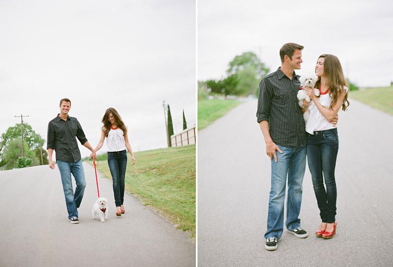 Santa Margarita, engagement photos of couple walking with dog