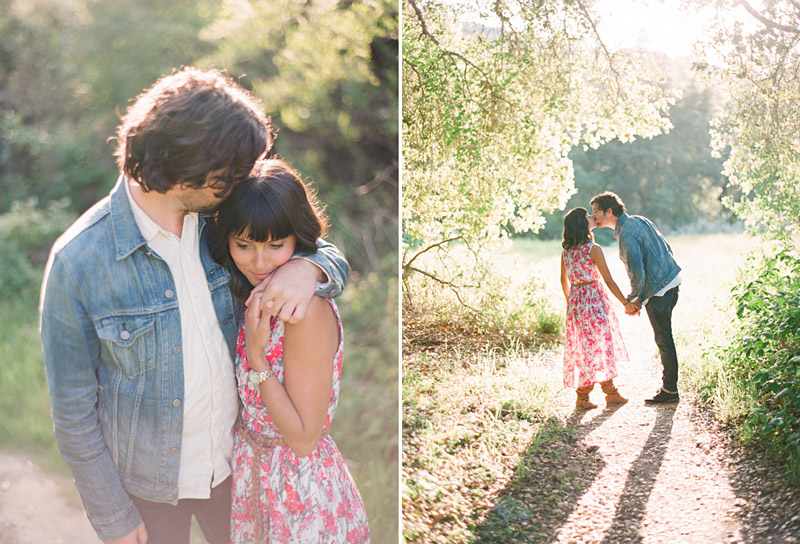 San Luis Obispo engagement medium format film photographs of couple kissing on trail