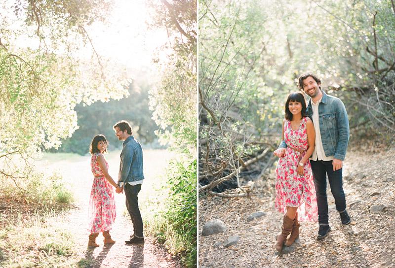 San Luis Obispo engagement medium format film photographs of couple holding hands