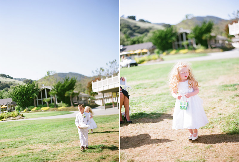 Avila Beach Golf Course wedding pictures of ring bearers and flower girl walking down the aisle.