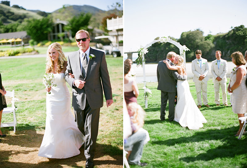 Avila Beach Golf Course wedding pictures of father escorting bride down the aisle.