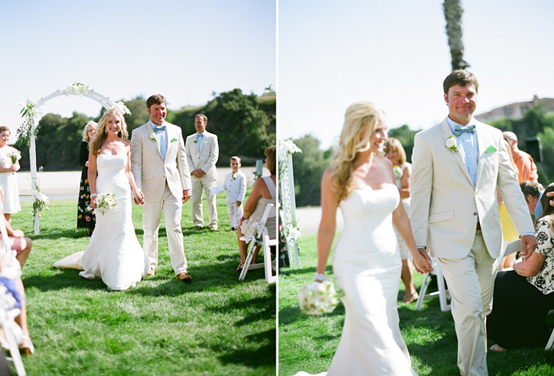 Avila Beach Golf Course wedding pictures of bride and groom walking down the aisle.
