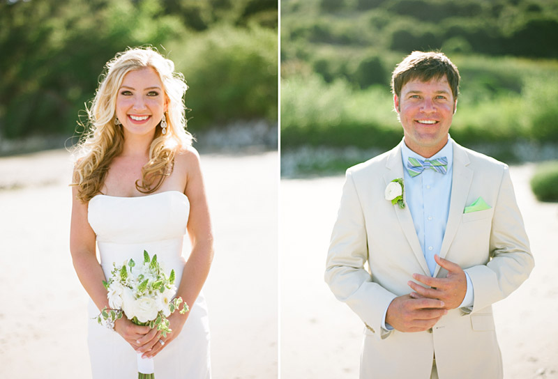 Avila Beach Golf Course wedding pictures of bride and groom on beach.