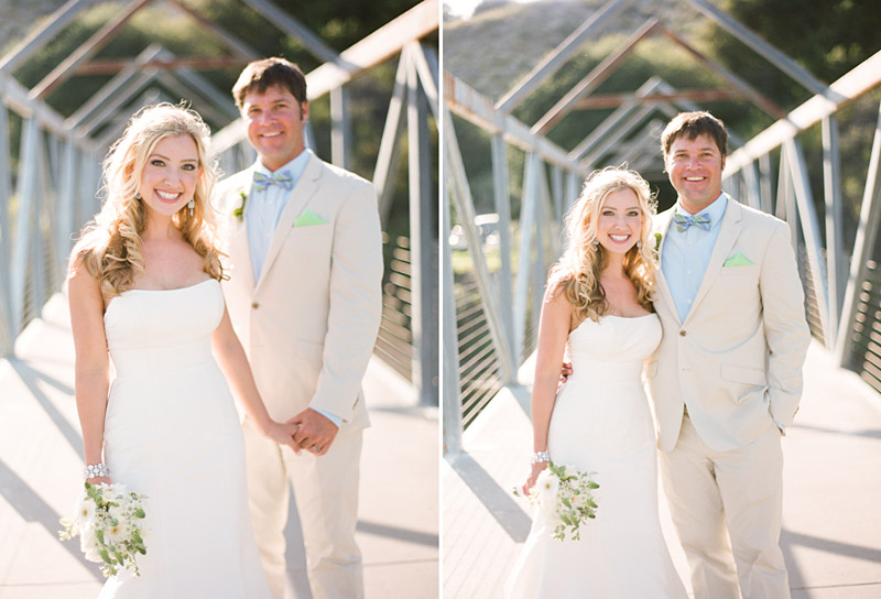 Avila Beach Golf Course wedding pictures of bride and groom on bridge.