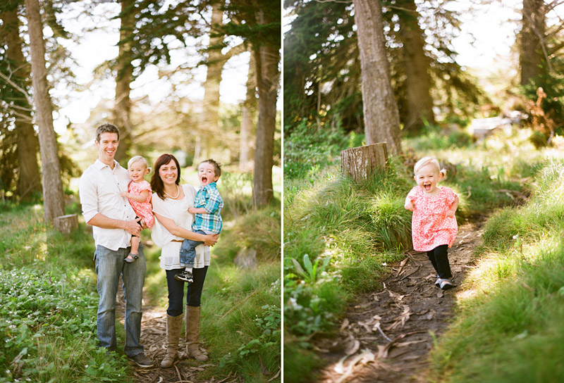 Los Osos Family Photography, Family in forest with little girl running