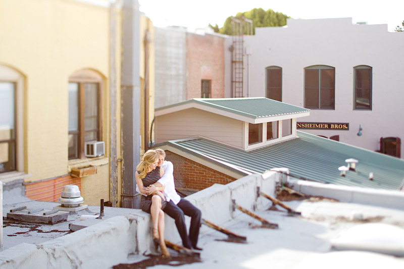 san luis obispo engagement session of couple on a roof