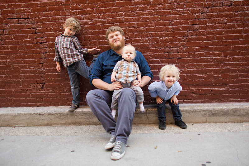 San Luis Obispo family portraits with a brick wall