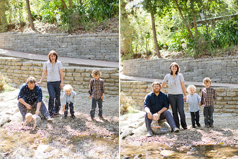 San Luis Obispo family portraits at the creek in downtown