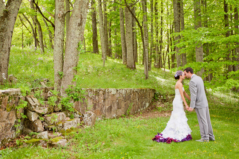 Virginia wedding photography of bride and groom seeing eachother for the first time in the forest (2 of 4)