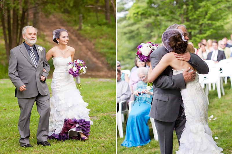 Virginia wedding photography of bride and father walking down the isle