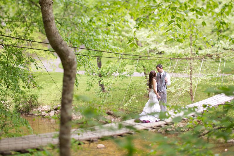Virginia wedding photography portraits of the couple on a bridge