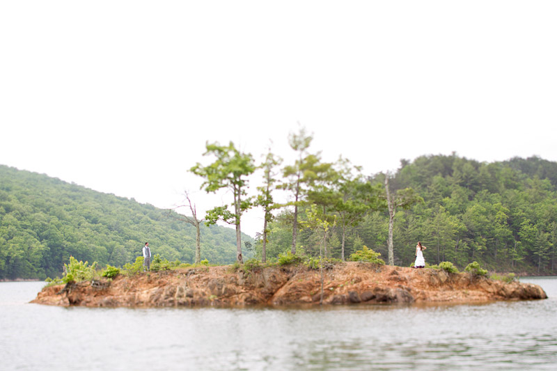 Virginia wedding photography of couple on and island in the lake