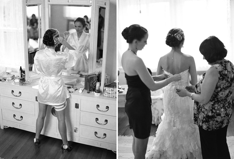Virginia wedding photography of bride putting on veil and getting dressed
