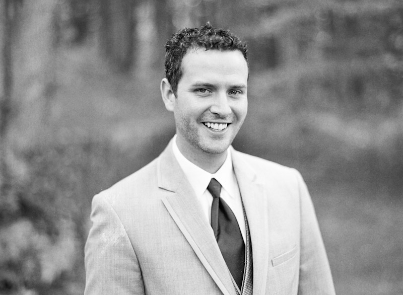Virginia wedding photography of groom in a forest