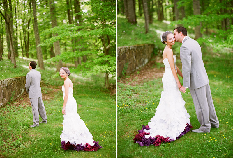 West Virginia wedding photography of bride and groom seeing eachother for the first time in the forest