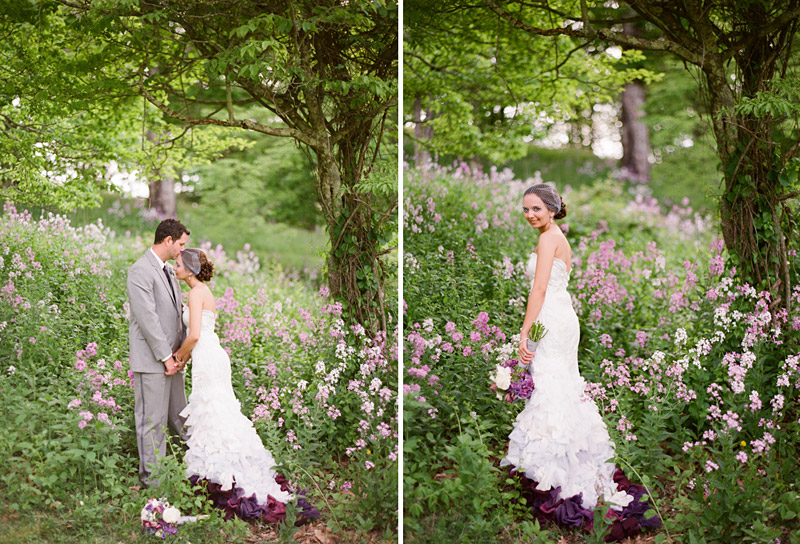 Virginia wedding photography portraits of the couple in a field of flowers