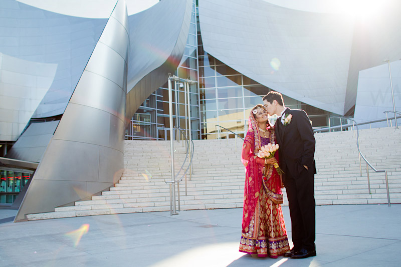 Los Angeles California wedding photography of couple at the Walt Disney Concert Hall (1 of 7)
