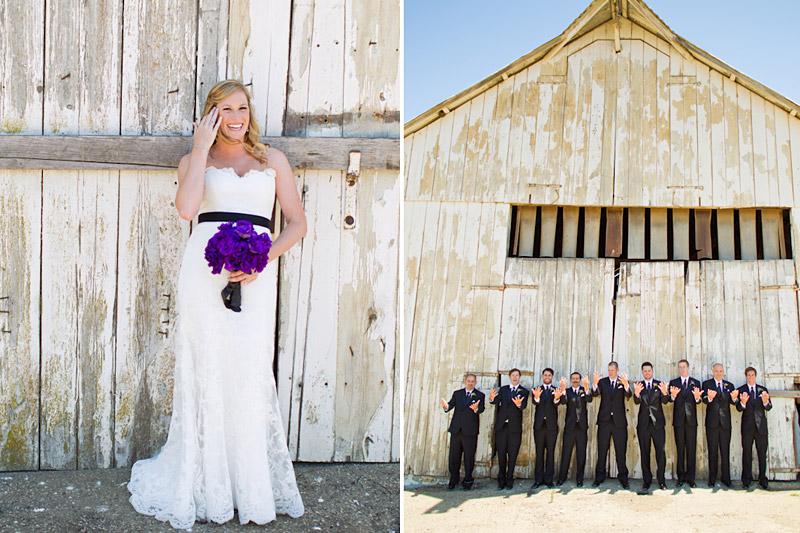 san luis obispo ranch wedding, bride and groomsmen