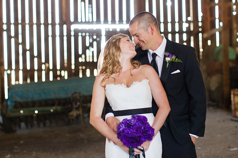 san luis obispo ranch wedding, portraits of the bride and groom in a barn (1 of 2)