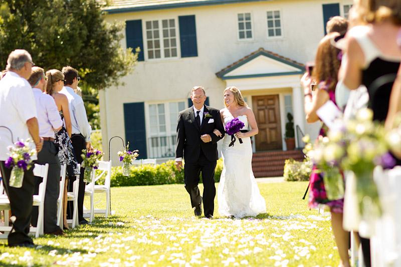 cecchettini_131san luis obispo ranch wedding, father walking his daughter down the aisle