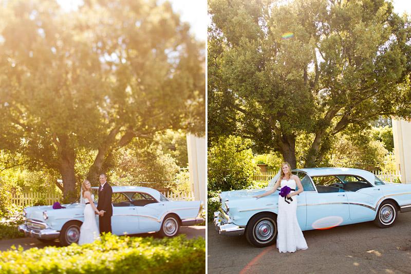 san luis obispo ranch wedding, couple portraits with vintage car (1 of 4)