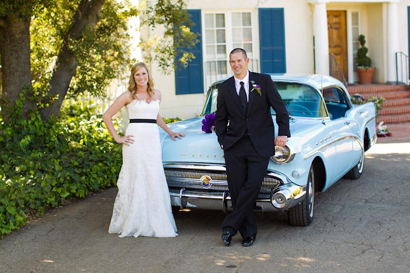 san luis obispo ranch wedding, couple portraits with vintage car (2 of 4)