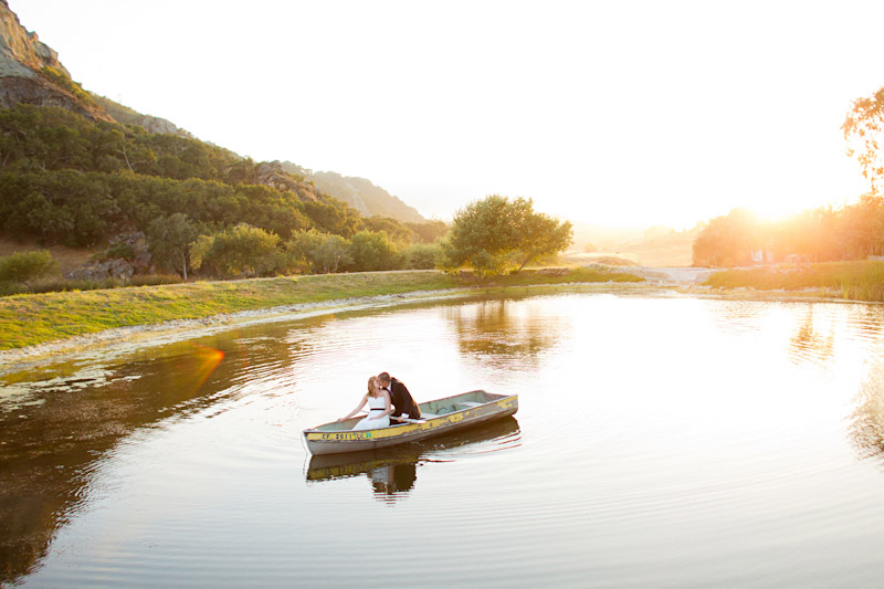 san luis obispo wedding at holland ranch, bride and groom portrait on the lake