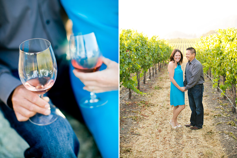 Tolosa winery engagement photo shoot of couple in the vineyards