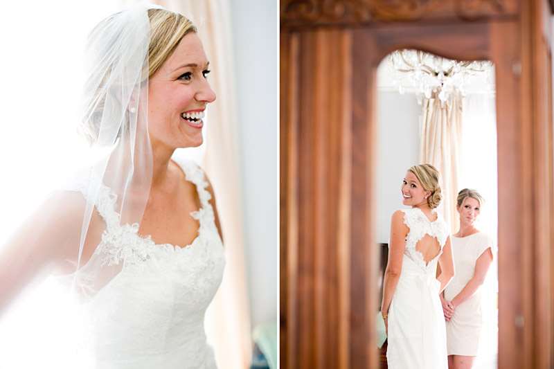 San Luis Obispo Wedding, Dana Powers House, Bride smiling and seeing herself in the mirror after getting in her dress.