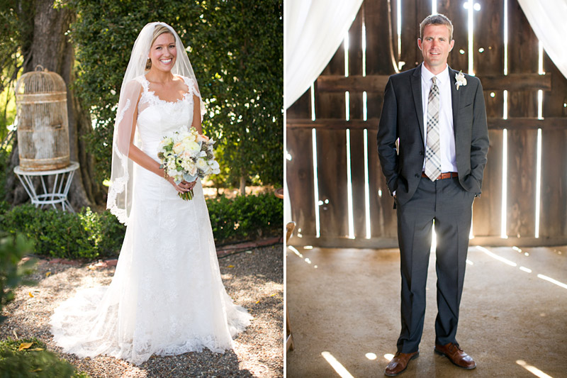 San Luis Obispo, Dana Powers House & Barn Wedding, bride in the garden, groom in the barn.