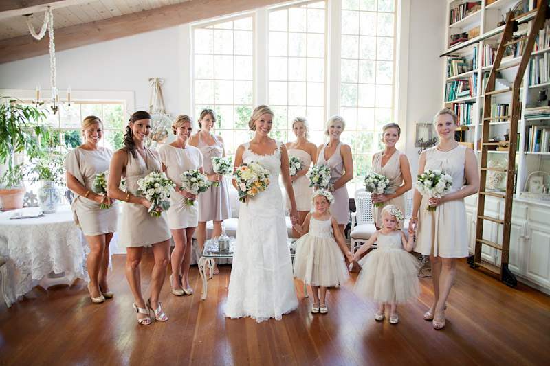 San Luis Obispo Wedding, Dana Powers House, bride, bridesmaids and flower girls standing in window light before the wedding.