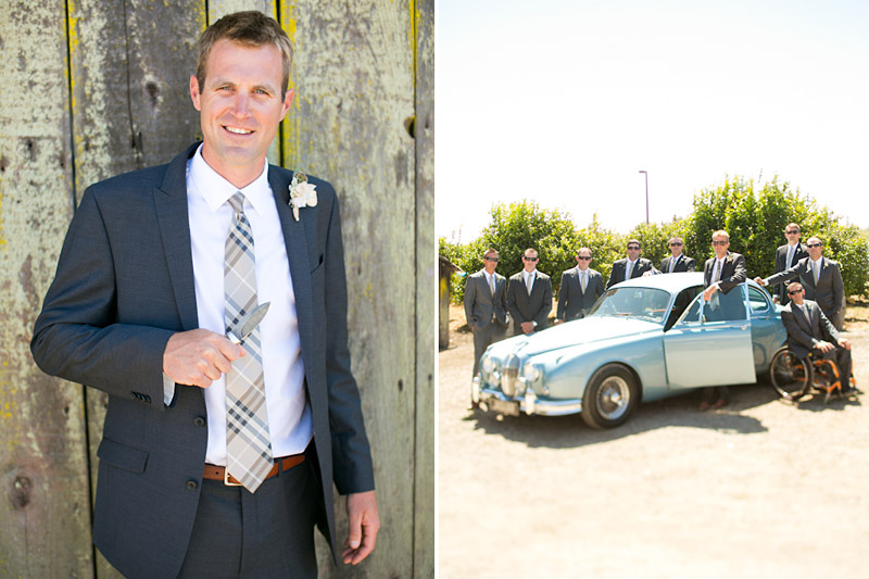 San Luis Obispo, Dana Powers House & Barn Wedding, groom in front of barn holding a knife and groomsmen in front of a classic blue Jaguar from Cars with Distinction.