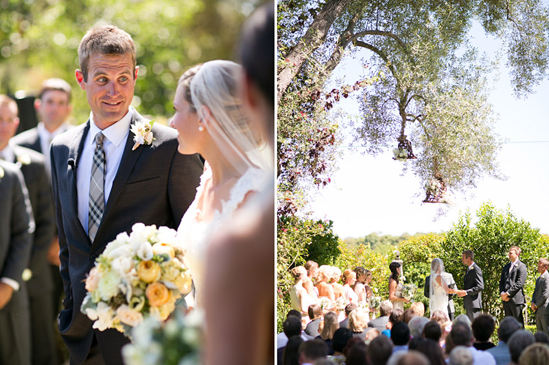 San Luis Obispo, Dana Powers House Wedding ceremony in garden close up of groom looking at bride and far away shot of wedding party and couple.