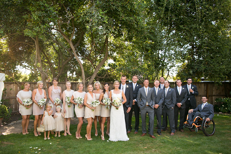 San Luis Obispo, Dana Powers House Wedding bridal party line up.