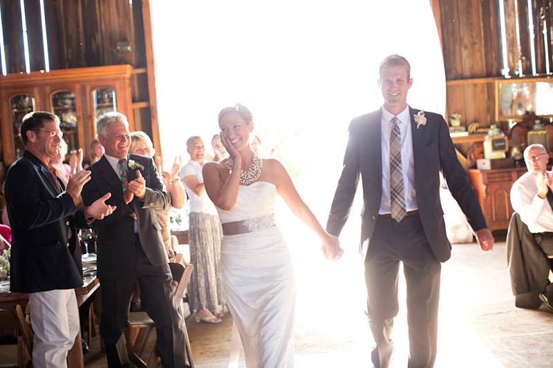 Dana Powers Wedding, bride and groom's grand entrance into barn.