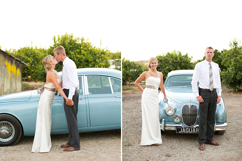 San Luis Obispo, Dana Powers Barn Wedding, bride and groom holding hands, and kissing in front of a classic jaguar from Cars With Distinction.