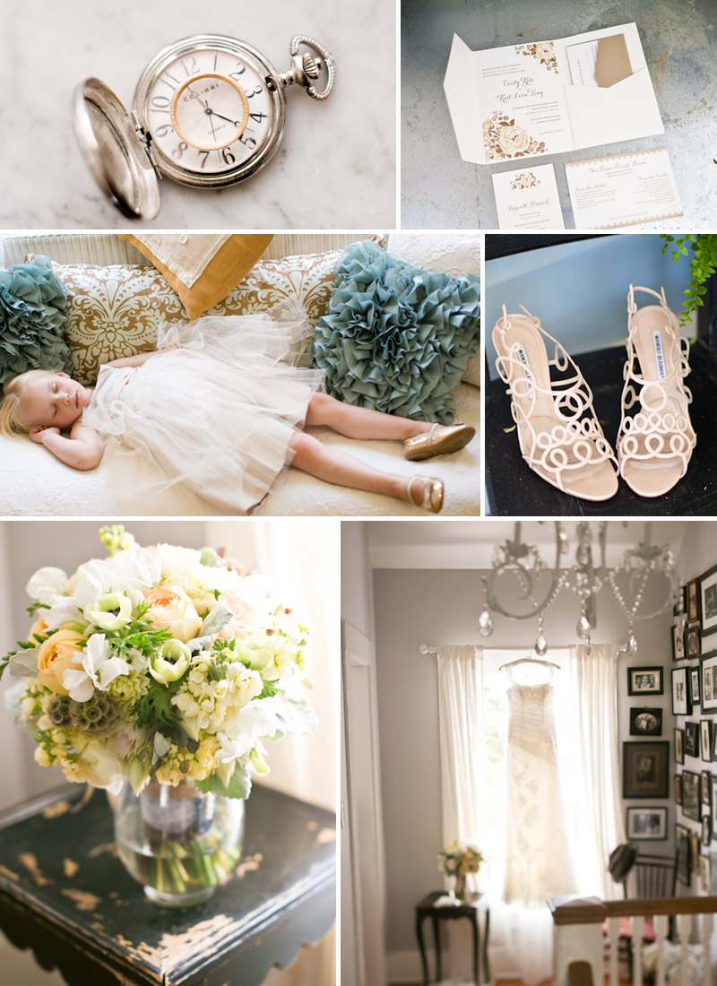 San Luis Obispo Wedding, Dana Powers House, bridal details including brides bouquet, shoes, invitation, dress hanging in window, pocketwatch with grooms ring and sleeping flower girl on a couch.