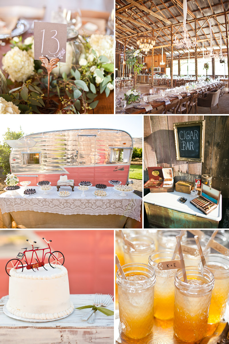 San Luis Obispo Wedding, Dana Powers Barn reception details inlcuding table center piece, Enjoy Cupcakes trailer, cigar bar, tandem bicycle cake topper, fruity cocktails.